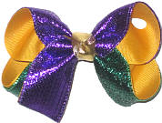 Medium Purple and Green Metallic Sparkle over Yellow Gold Double Layer Overlay Bow