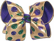 Large Purple and Green Glitter Dots on Metallic Gold over Purple Double Layer Overlay Bow