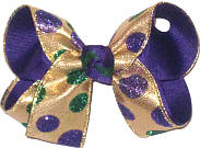 Medium Purple and Green Glitter Dots on Metallic Gold over Purple Double Layer Overlay Bow