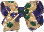 Toddler Purple and Green Glitter Dots on Metallic Gold over Purple Double Layer Overlay Bow