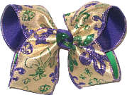 Large Purple and Green Glitter Fleur de Lis on Metallic Gold over Purple and Green Double Layer Overlay Bow