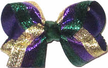 Toddler Metallic Purple Green and Gold Stripes over Purple Double Layer Overlay Bow