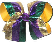 Large Purple Green and Gold Metallic over Yellow Gold Double Layer Overlay Bow