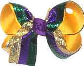 Medium Purple Green and Gold Metallic over Yellow Gold Double Layer Overlay Bow