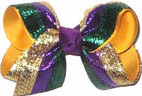 Toddler Purple Green and Gold Metallic over Yellow Gold Double Layer Overlay Bow