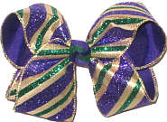 Large Purple Green Glitter and Metallic Gold Stripes over Purple Double Layer Overlay Bow