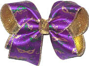 Large Gold and Green Glitter Masks on Purple Satin over Metallic Gold Double Layer Overlay Bow