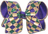 Large Purple Green Glitter and Metallic Gold Jester Print over Purple Double Layer Overlay Bow