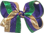 Large Purple Green and Gold Giltter Stripes over Purple Double Layer Overlay Bow