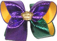 Large Purple and Green Metallic over Yellow Gold with Gold Crown Double Layer Overlay Bow