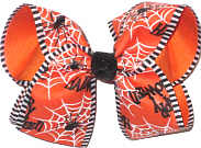 Large Spider and Wed on Orange over Orange with Black Glitter Knot Double Layer Overlay Bow
