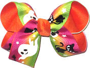 Medium Glow in the Dark Ghosts and Black Cat's Eyes over Orange Double Layer Overlay Bow