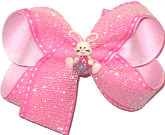 Medium Easter Bunny with Easter Basket Miniature on Shimmer Mesh and Pink Saddle Stitch over White Double Layer Overlay Bow
