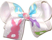 Large Cotton Tail Easter Bunnies over White Double Layer Overlay Bow