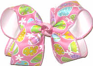 Large Colorful Easter Eggs on Pink over White Double Layer Overlay Bow