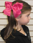 Large Solid Color Hair Bow on Model