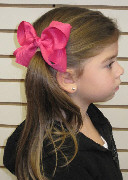 Medium Solid Color Hair Bow on Model
