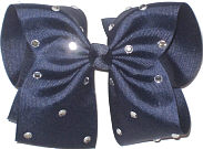 Mega Navy with Rhinestones Jeweled Bow