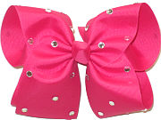 Mega Shocking Pink with Rhinestones Jeweled Bow