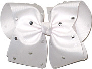 Mega White with Rhinestones Jeweled Bow
