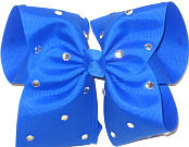Mega Electric Blue with Rhinestones Jeweled Bow