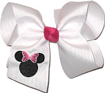 Large White Bow with Minnie Monogram and Shocking Pink Bow and Knot