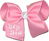 Large Pink and White Monogrammed ''Big Sis'' Bow Monogram Design