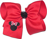 Large Red Bow and Black Sequin Ribbon Knot with Minnie Monogram