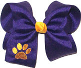 Large Regal Purple with Yellow Gold Monogrammed Paw Bow