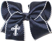Large Fancy White Cross Monogram on Navy with White Moonstitch