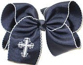 MEGA White Fancy Cross on Navy and White Moonstitch Bow