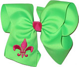 Neon Green and Shocking Pink Fleur de Lis