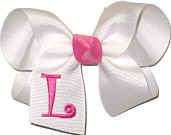 White and Hot Pink Monogrammed Initial