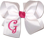 White and Shocking Pink Monogrammed Initial