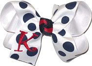 Medium White with Navy Coin Dot and Red Initial Monogram Monogrammed Initial