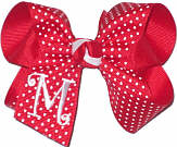 Medium Red with White Pin Dot and White Initial Monogram Monogrammed Initial