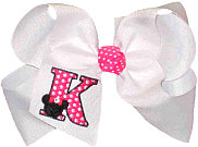 Large Monogrammed Minnie with Shocking Pink Initial and Swarovski Crystal In Minnie's Shocking Pink Bow