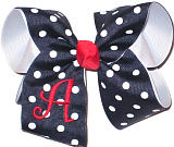 Red Monogram on Navy with White Dots over White Grosgrain Monogrammed Initial