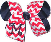 Navy Monogram on Red and White Chevron Print over Navy Grosgrain Monogrammed Initial