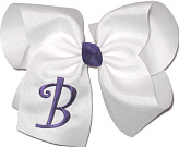 White with Regal Purple Initial Monogrammed Initial