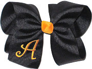Black and Yellow Gold Large Monogrammed Initial Bow