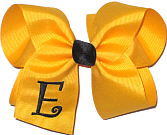 Yellow Gold and Black Large Monogrammed Initial Bow