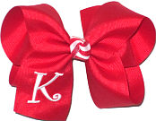 Red and White Large Monogrammed Initial Bow