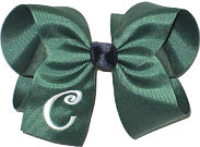 Forest Green and White with Navy Knot Large Monogrammed Initial Bow