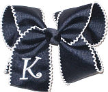 Large Navy with White Moonstitch and White Initial Bow