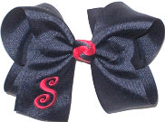 Large Navy and Shocking Pink Monogrammed Initial Bow
