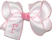 Medium White with Pink Moonstitch and Pink Initial Double Layer Overlay Bow