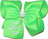 Neon Green and White Monogrammed Triple Initial