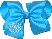 Large Tourquoise and White Initials Monogrammed Triple Initial Bow