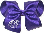 Large Regal Purple amd White Initials Monogrammed Triple Initial Bow